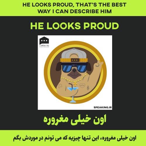 اصطلاح انگلیسی - He looks proud