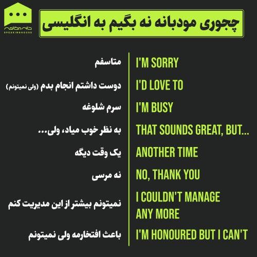 لغات انگلیسی - گفتن نه مودبانه