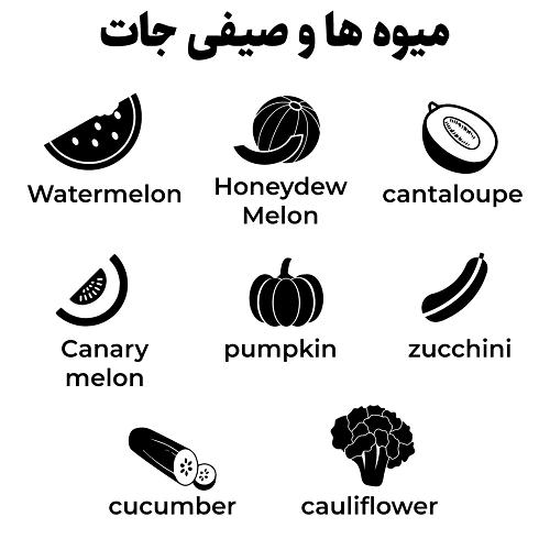 میوه ها و صیفی جات به انگلیسی
