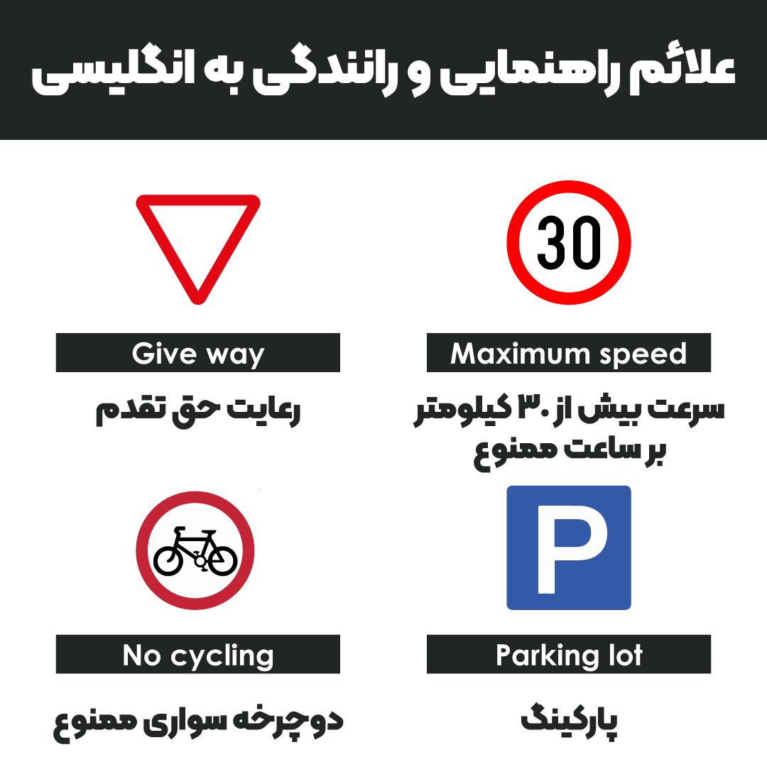 علائم راهنمایی و رانندگی به انگلیسی