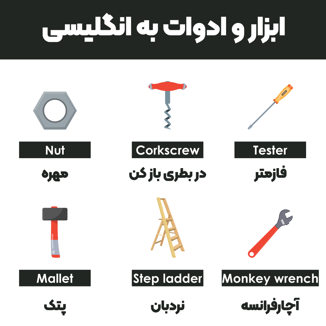 ابزار و ادوات به انگلیسی