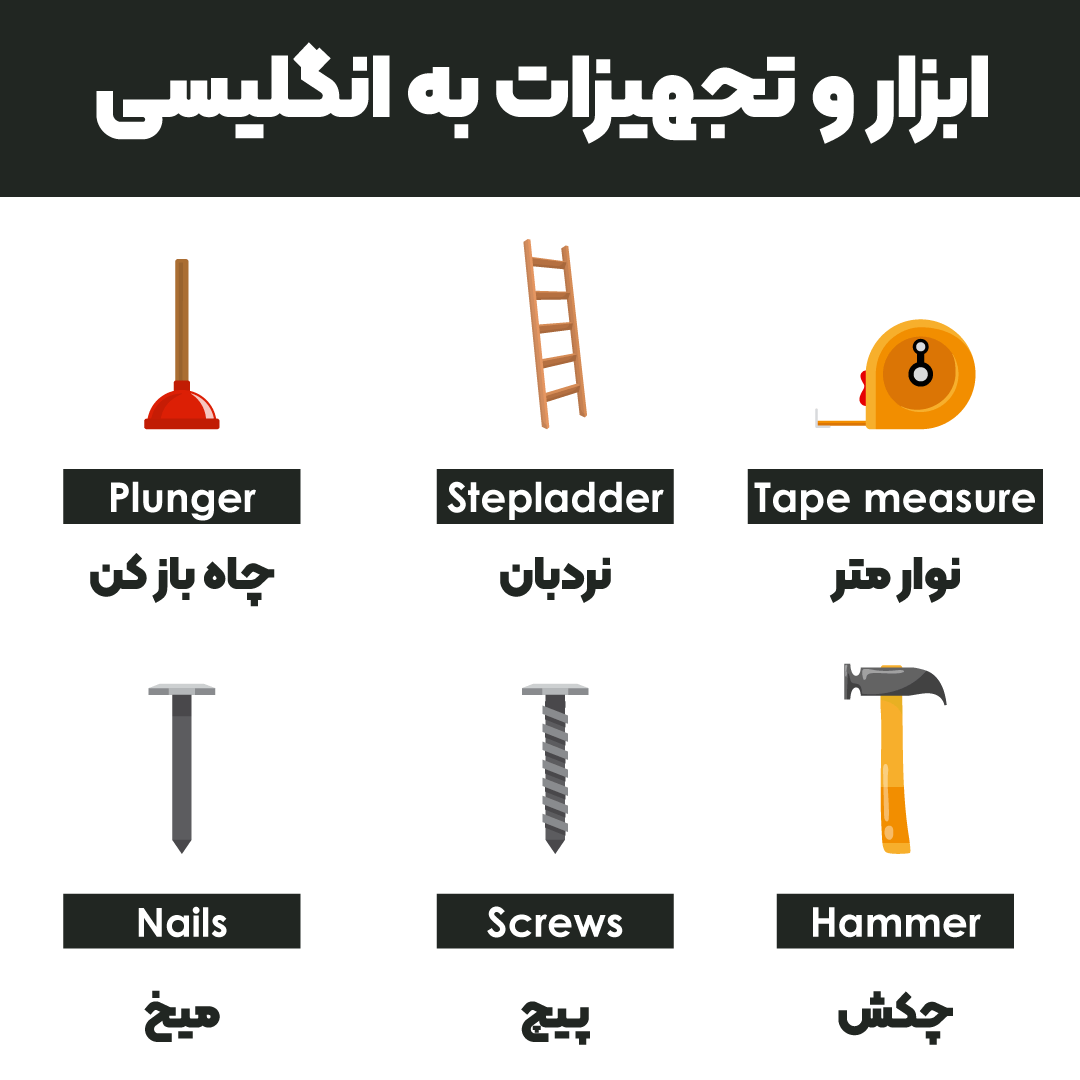 ابزار و تجهیزات به انگلیسی