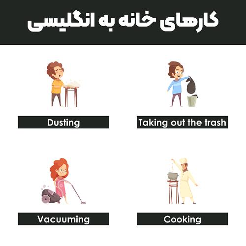 کارهای خانه به انگلیسی